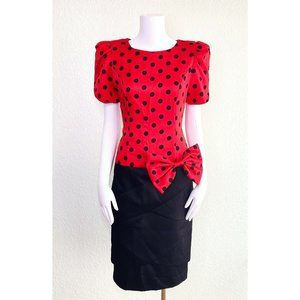 Opening Night Vintage Dress Polka Dot Red Black